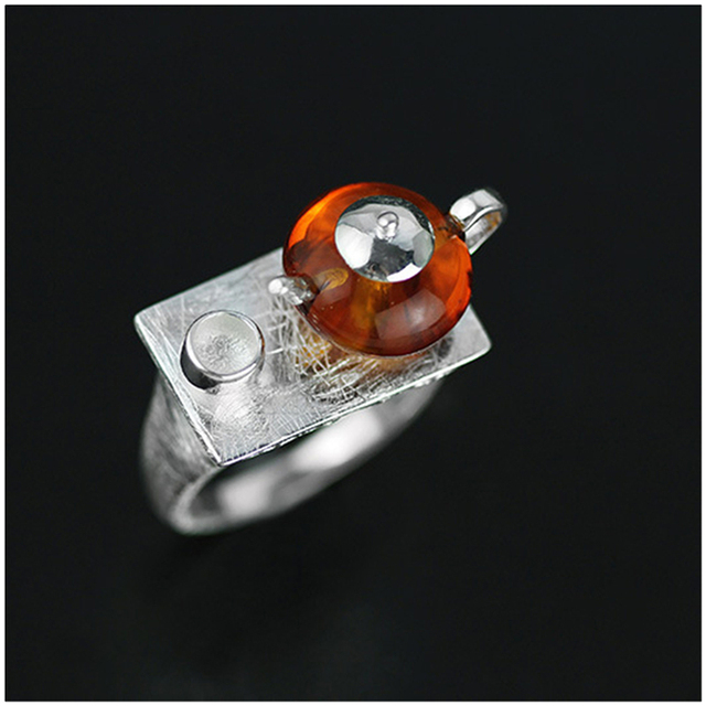 Lotus Fun Real 925 Sterling Silver Natural Amber Original Handmade Fine Jewelry Vintage Ring CuteTeapot Rings for Women Bijoux
