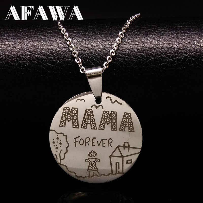 Family Necklaces Stainless Steel Mama Forever Boy Girl Pendants Necklace Jewelry Women Kids Family Member Christmas Gift N2407