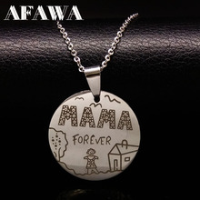 Family Necklaces Stainless Steel Mama Forever Boy Girl Pendants Necklace Jewelry Women Kids Member Christmas Gift N69131