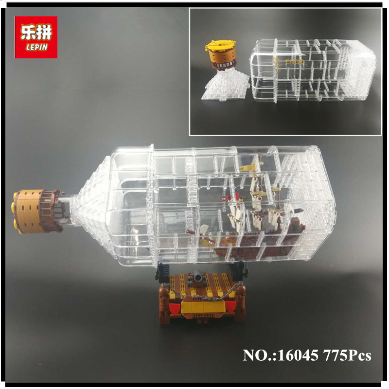 IN STOCK Lepin 16045 Genuine 775pcs Creative Series The Ship in the Bottle Set Building Blocks Brick Educational Toys Model Gift 8 in 1 military ship building blocks toys for boys