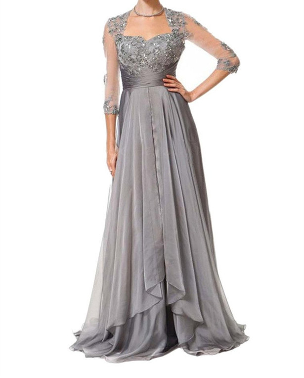 Elegant Grey A Line Lace Bodice 3/4 Sleeve Open Back Chiffon Floor Length Mother Of The Bride Dress With Applique Detail