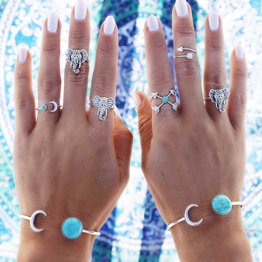 Vintage Braccialetti A Fili Multipli Per le donne Accessori Boho Bella Turchesi Sun Moon Big Apri Braccialetto del braccialetto Degli uomini dei monili del Regalo di Modo