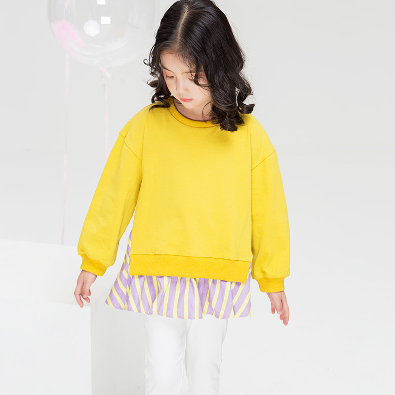 Girls clothes kidsT shirt 2019 spring and autumn new long sleeved cotton 3 10 stripes stitching children 39 s clothing in Tees from Mother amp Kids