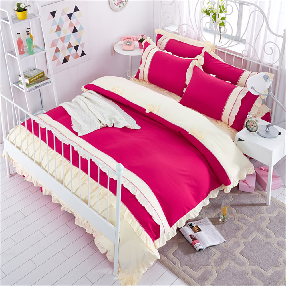 100% Cotton red Lace bed skirt set Korean Countryside style Girl Bedding Set 4Pcs Queen Twin Size bed set Duvet Cover Pillowcase