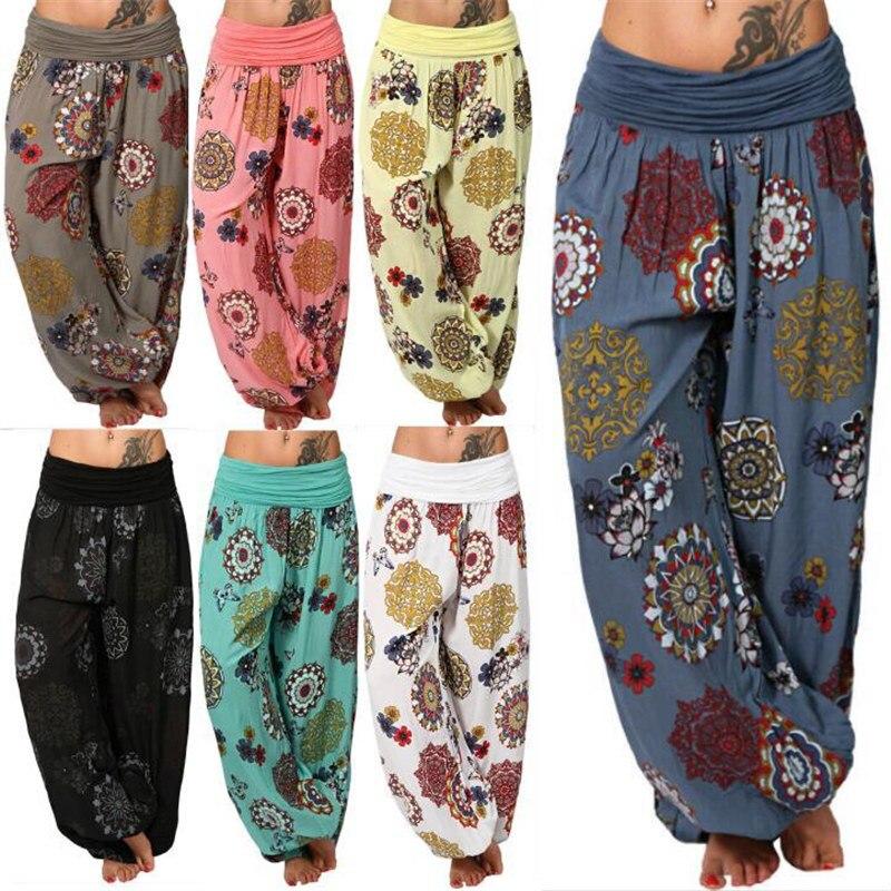 Women Bohemian Harem Pants Plus Size 5xl High Waist Wide Leg Casual Trousers 2019 Boho Print Harem Pants