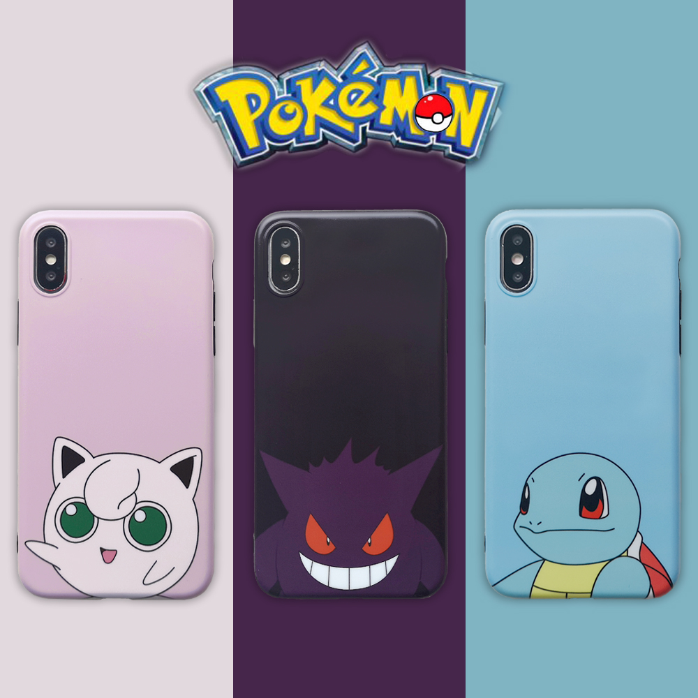 Pokemons Jigglypuff Gengar Squirtle Cartoon Phone Couple Case For IPhone 6 6s 7 8 Plus
