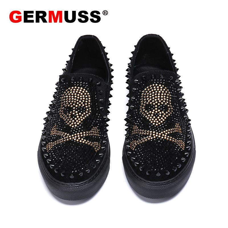 Luxury Brand Skull Men Loafers Black Diamond Rhinestones Spikes Men Shoes Rivets Casual Flats Sneakers Wholesale Dropshipping