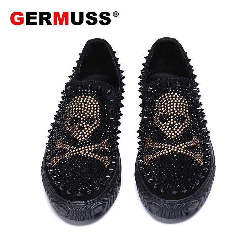 Marque de luxe crâne hommes mocassins noir diamant strass pointes hommes chaussures Rivets décontracté appartements baskets livraison directe en gros