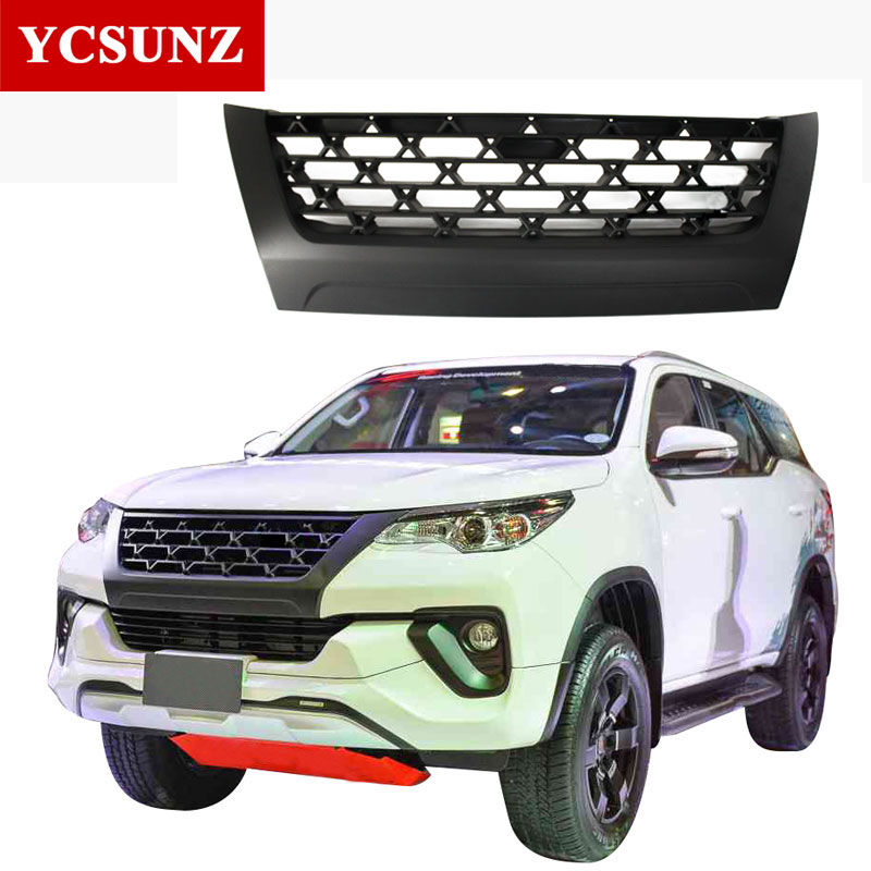 Car Accessories ABS Matte Black Front Grille Front Grills For Toyota Fortuner Hilux SW4 2016 2017 2018 2019 grille