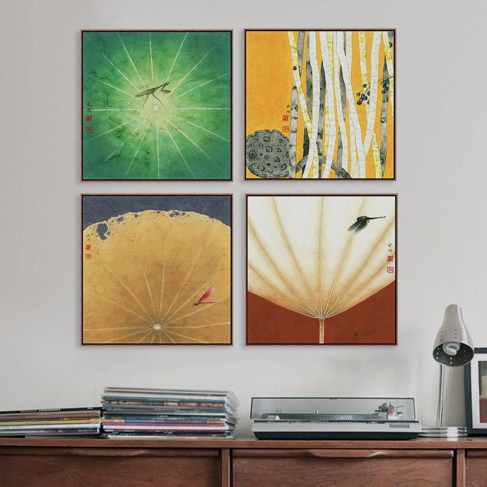Modernes asiatisches lotu dance zeichnung rural floral haus schlafzimmer wandkunst pflanze blume mantis poster leinwand malerei