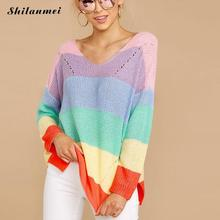 Women Fashion Rainbow Striped Knitted Turtleneck  Sweater Summer Casual V Neck Loose Long Sleeve Knitwear Female Tops