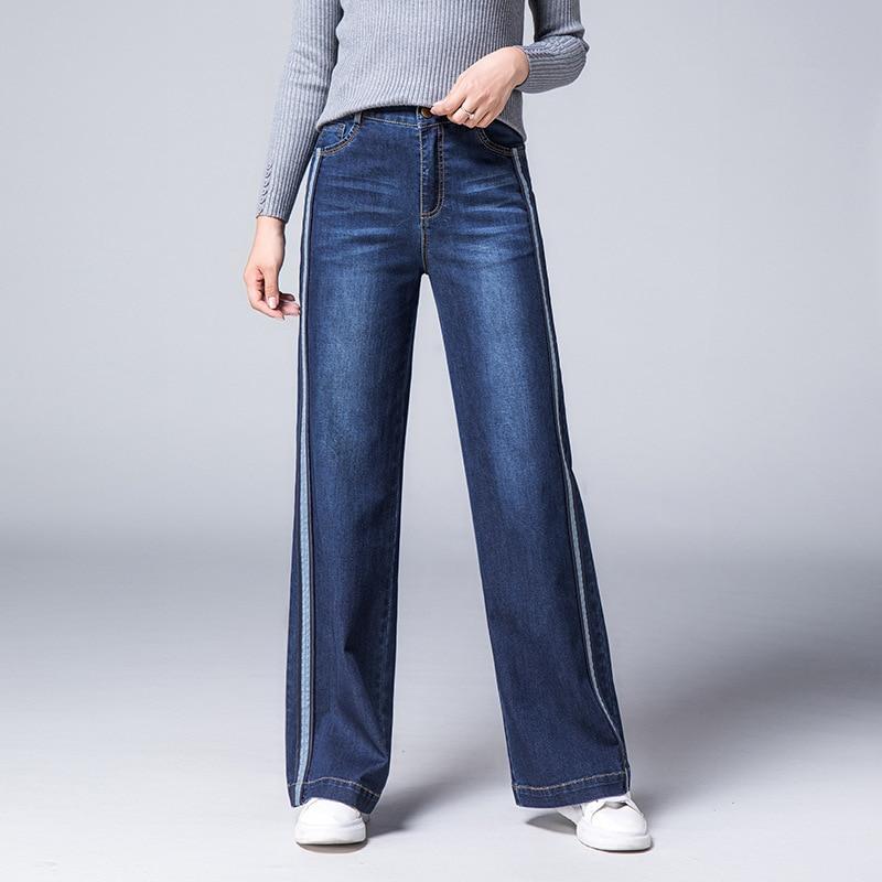 f4d90092718 Cintura Tamaño Delgado Acrmrac Jeans Pantalones Raya Mujer Flojos La Vaqueros  Alta Delgada Remiendo Gran Otoño ...