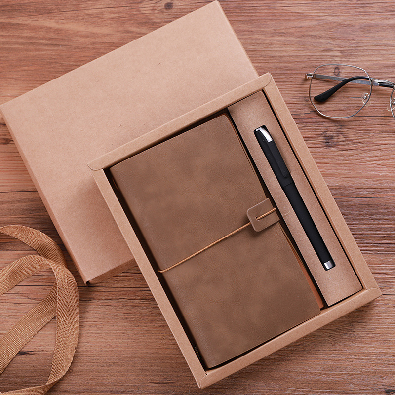 1pc A6 Business Notepad Custom Hand Account This Retro Style Stationery Business Leather Notebook Gift Box Set