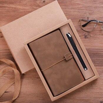 A6 estilo Vintage bloc de notas cubierta de cuero trabajo cuaderno tapa dura escuela oficina suministro diseño Simple papelería