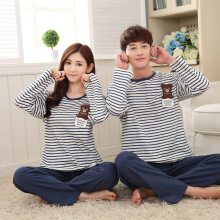Female Pyjamas Sets Spring Women Sleepwear Long Sleeved Couple Pajama Lady HomeClothing Men Nightgrown Striped Top Blue Pants
