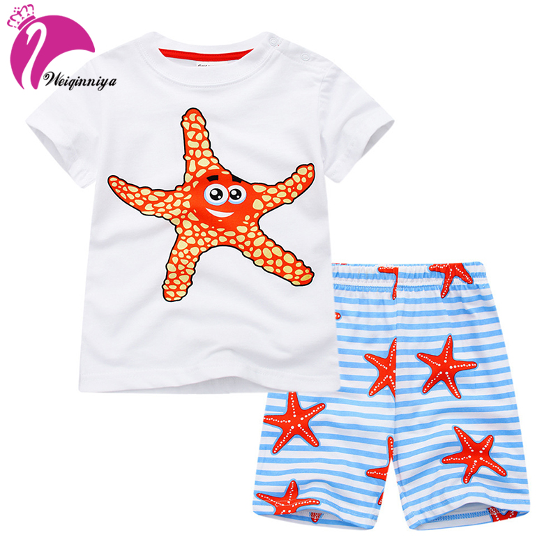 Boys Sets Casual Kids Sports Suits Cartoon Pattern Tracksuits For Boys Cotton Shorts+Pants 2PCs Sets Summer Baby Boy Clothes Hot