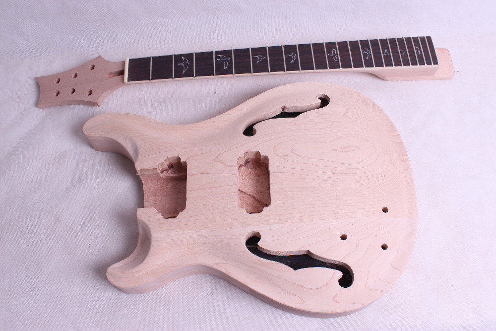 ONE set left PRS   New high quality Unfinished electric guitar neck and body 1set unfinished electric guitar neck set in