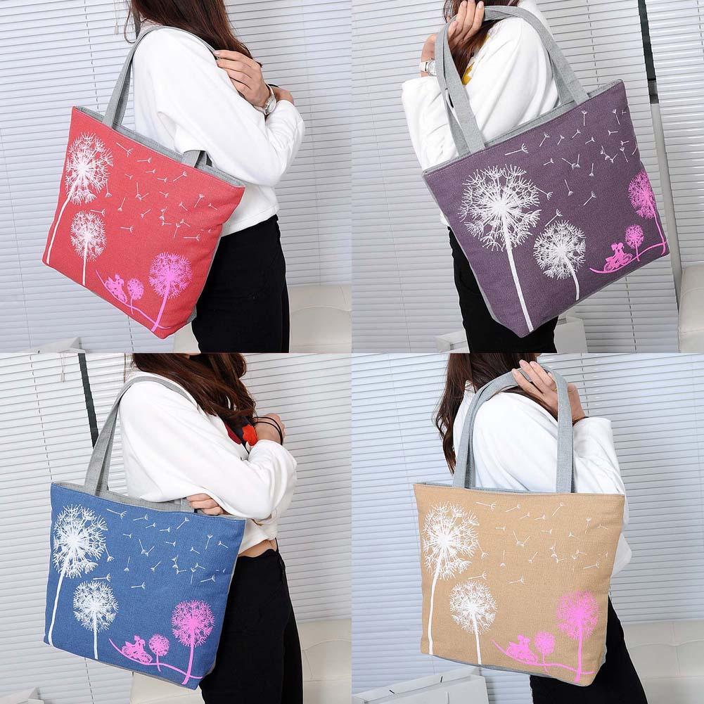 0534e61e49362 Moda Taşınabilir Karahindiba Kanvas Çanta Çiçek Kadın Çanta Omuz Çantaları  Kadın Haberci Çanta LT88