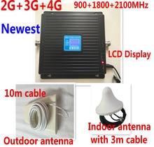 LCD display2G 3G 4G LTE repetidor GSM 900 WCDMA 2100 1800 de triple Banda celular Amplificador de Señal de 70dB Ganancia gsm Repetidor 3G 4G amplificador