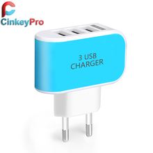 CinkeyPro 5V 3A EU Plug 3 Ports Multiple Wall USB Smart Charger Adapter Mobile Phone Device Fast Charging for iPhone iPad