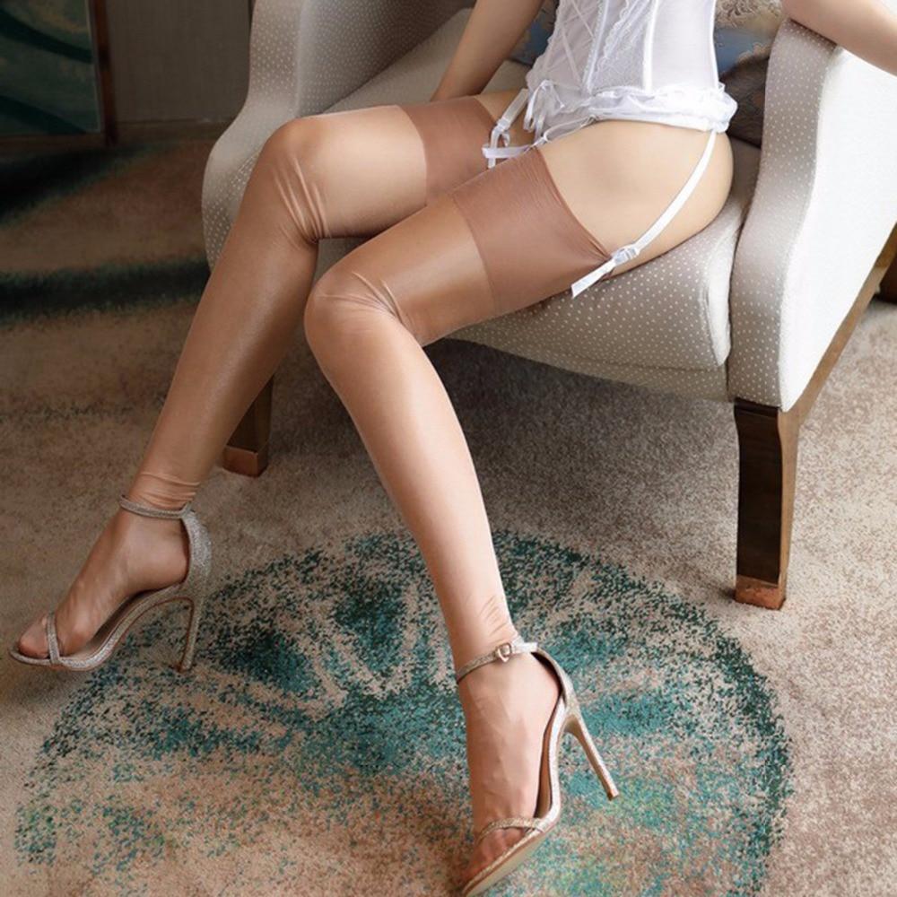 Women Sexy Retro Nylon Stockings Oil Flashing No Elastic Thigh High Stocking Vintage Shiny Medias