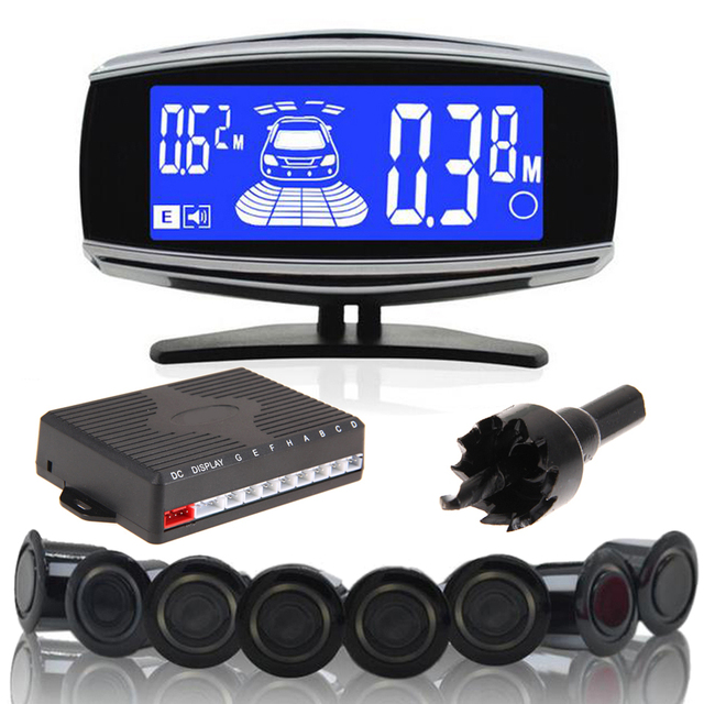 ME3L 8 Rear Front View Car Parking Sensor Reverse Backup Radar System with LCD Display Monitor Monitor Car Parking System