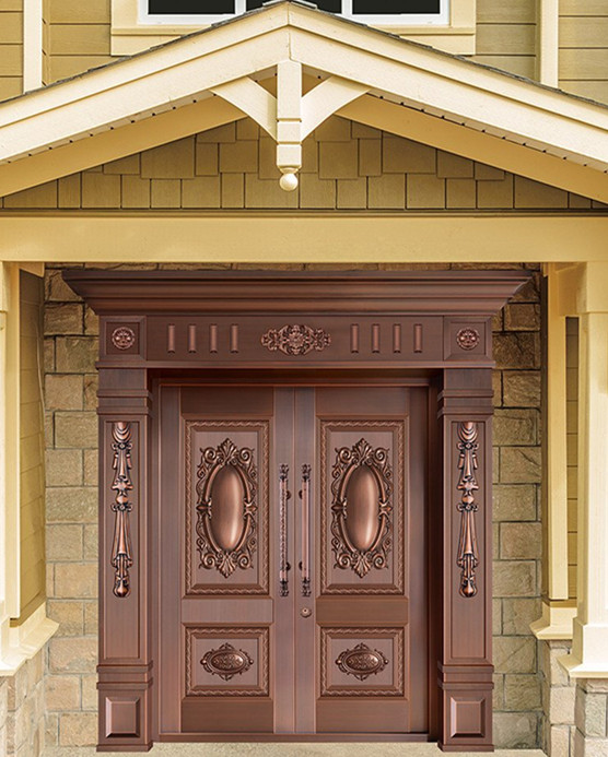Bronze Door Security Copper Entry Doors Antique Copper Retro Door Double Gate Entry Doors H-c8