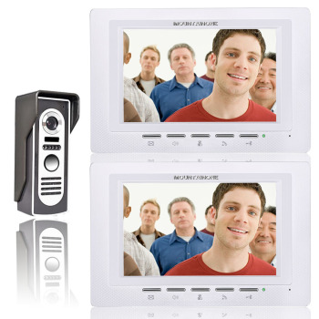New Wired 7 inch Color Video Door Phone Doorbell Intercom System 1 Access Camera + 2 White Monitor In Stock free shipping new 7 tft color video intercom door phone system 2 monitors rfid access doorbell camera in stock whole sale