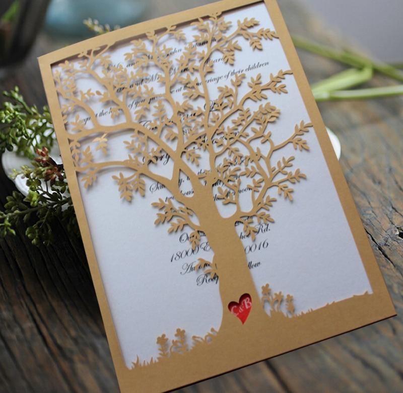 Őszi fa esküvői meghívó, piros szív esküvői meghívók - - Ünnepi és party kellékek