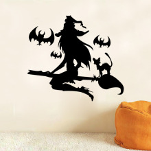 Happy Halloween Witch 2016 3D DIY PVC Black Bat Wall Sticker Decal Home Halloween All Saints' Day Decor Bats Sticker Supply 1200 pieces newest wall sticker black 3d diy pvc bat wall sticker decal home halloween decoration