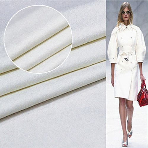 Double Sided high thick cashmere fabric wool coat fabric 780grams per metre 90%cashmere+10%wool white