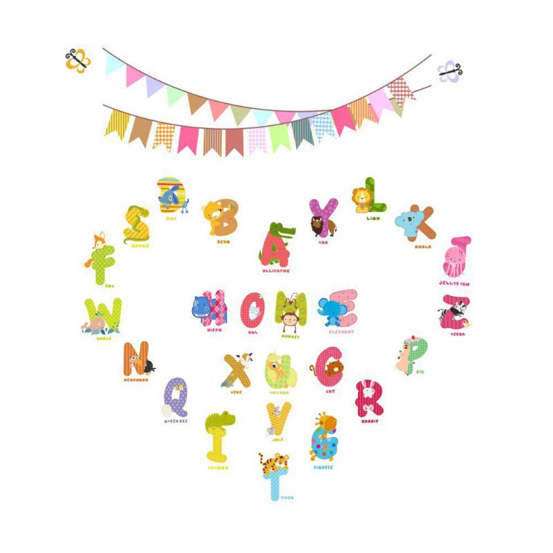 English Alphabet Early Education Stickers Children Room Background Wall Waterproof Removable Self-adhesive Door Decorat