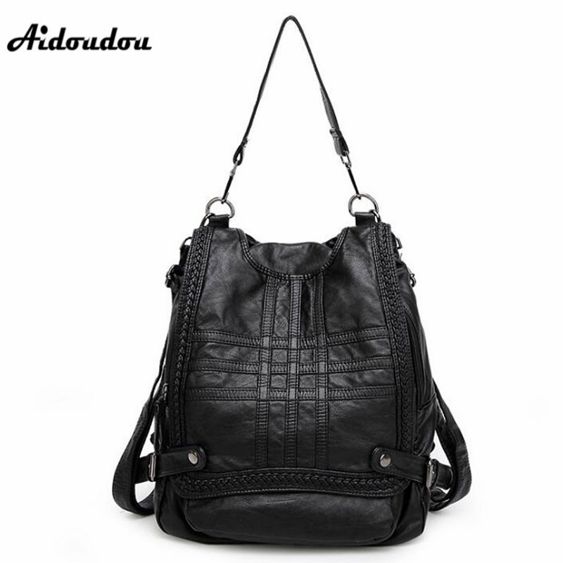 AIDOUDOU European Style Genuine Leather Backpack Fashion Women Schoolbag Backpacks High Quality Multifunction Travel Bags dikizfly new european and american style backpacks women high quality genuine leather backpack travel bags fashion mochila