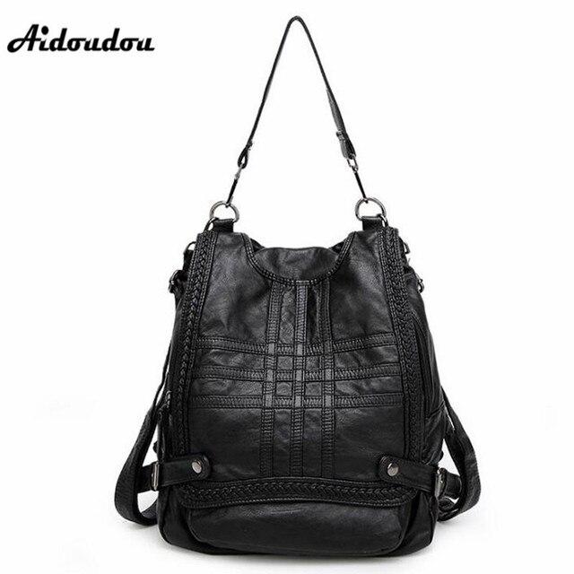 64adc04224f5 Aidoudou Европейский Стиль Пояса из натуральной кожи рюкзак модные женские  туфли школьный Рюкзаки Высокое качество Многофункциональный