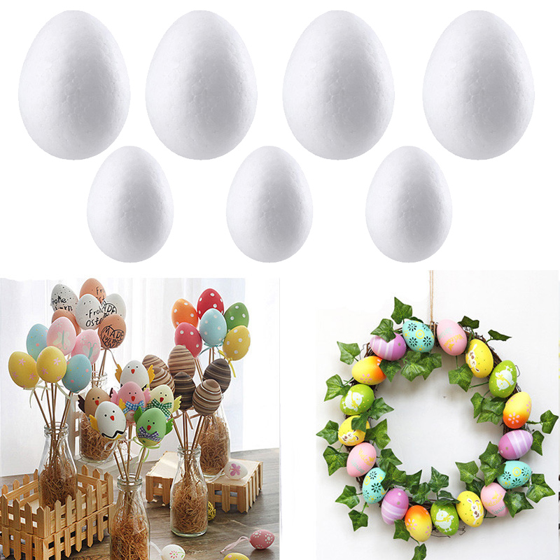 50Pcs Easter Handmade DIY Painting Egg Accessories White Foam Egg Easter Party Supplies Easter Gift For Kids