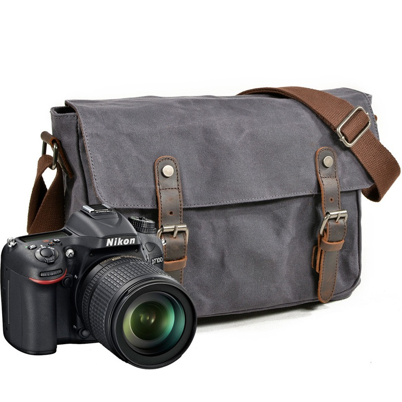 YUPINXUAN Vintage Canvas Shoulder Bags Oil Wax Canvas Leather Wateproof DSLR Camera Bag Shockproof Multifunctional Messenger Bag yupinxuan mens vintage oil wax canvas leather shoulder bags shockproof dslr camera bag waterproof canvas crossbody bags russian