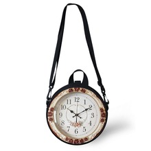 Wholesale ALICE Cosplay Clock Bag Mini Girl Boy Round Retro Print Women Shoulder Sac Circle Crossbody Pack FORUDESIGNS