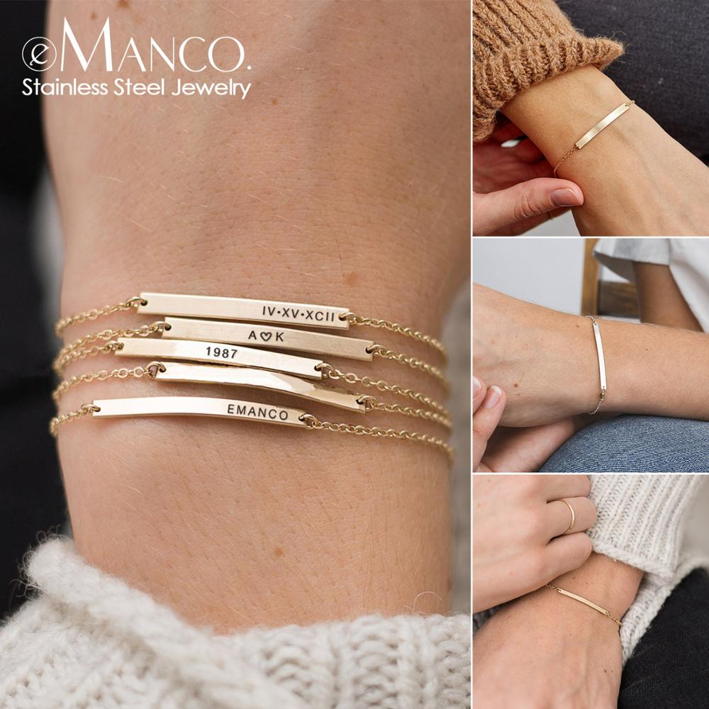 EManco DIY Name Custom Stainless Steel Bracelets For Women Initial Personalized Multilayer Bracelet Best Friend Bracelet Jewelry