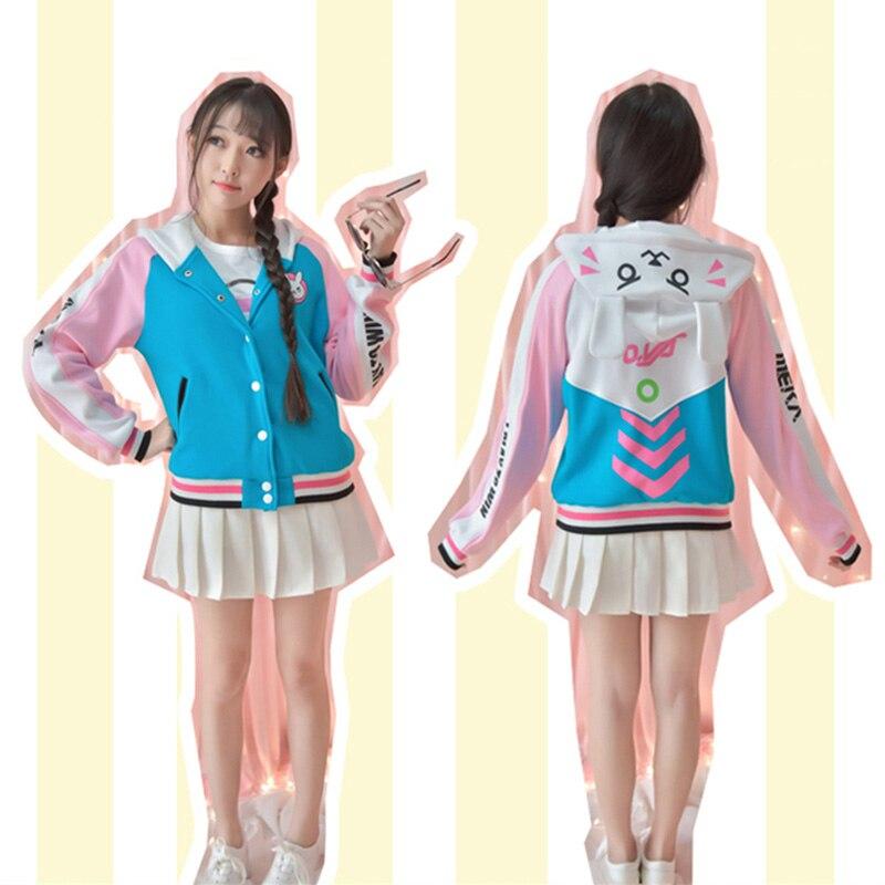 d025634d0 US $39.9  D.va Jacket Hooded D va Sweatshirt Hoodie Baseball Coats Dva Coat  Cotton Sweatshirts For Women Coat With Ears-in Basic Jackets from Women's  ...