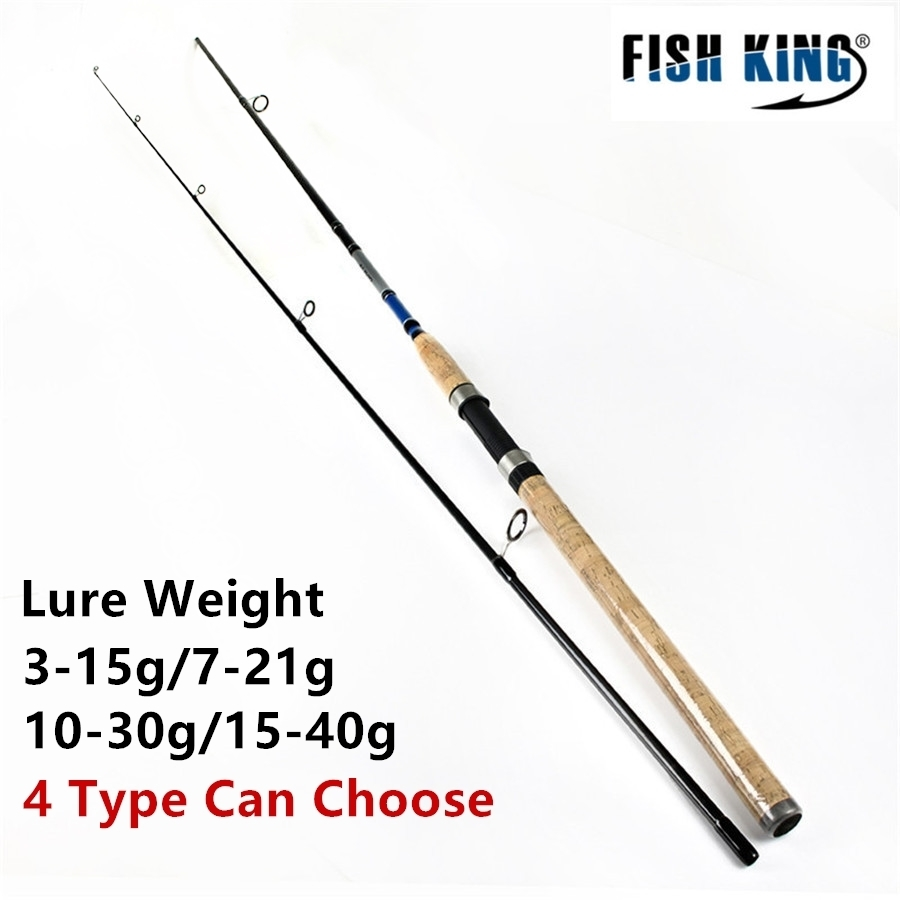 FISH KING Wood Handle Sea Fishing Spinning <font><b>Rod</b></font> <font><b>2</b></font>.4m <font><b>2</b></font>.7m <font><b>2</b></font> Section Ultra Light Carbon Fiber Saltwater Spinning Fishing <font><b>Rod</b></font> Pole