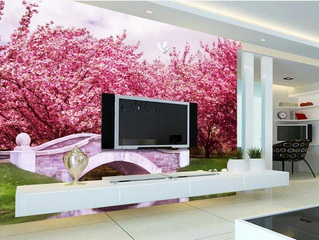 customize 3d wall murals Peach Blossom Tree Arches Creek Swan 3d ...