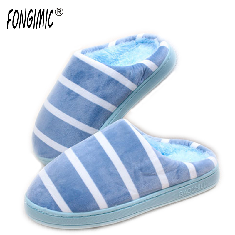FONGIMIC Indoor Slippers Fashion Winter Men Women Cotton Plush Warm Slipers Striepd Unisex Home Floor Soft Slippers Shoes New купить
