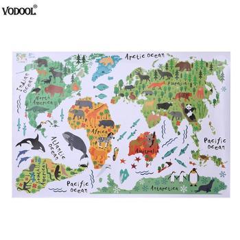 Красочная карта мира с животными, настенная наклейка, мультяшная карта, съемные ПВХ обои, наклейки для детской спальни, плакаты, украшение д...