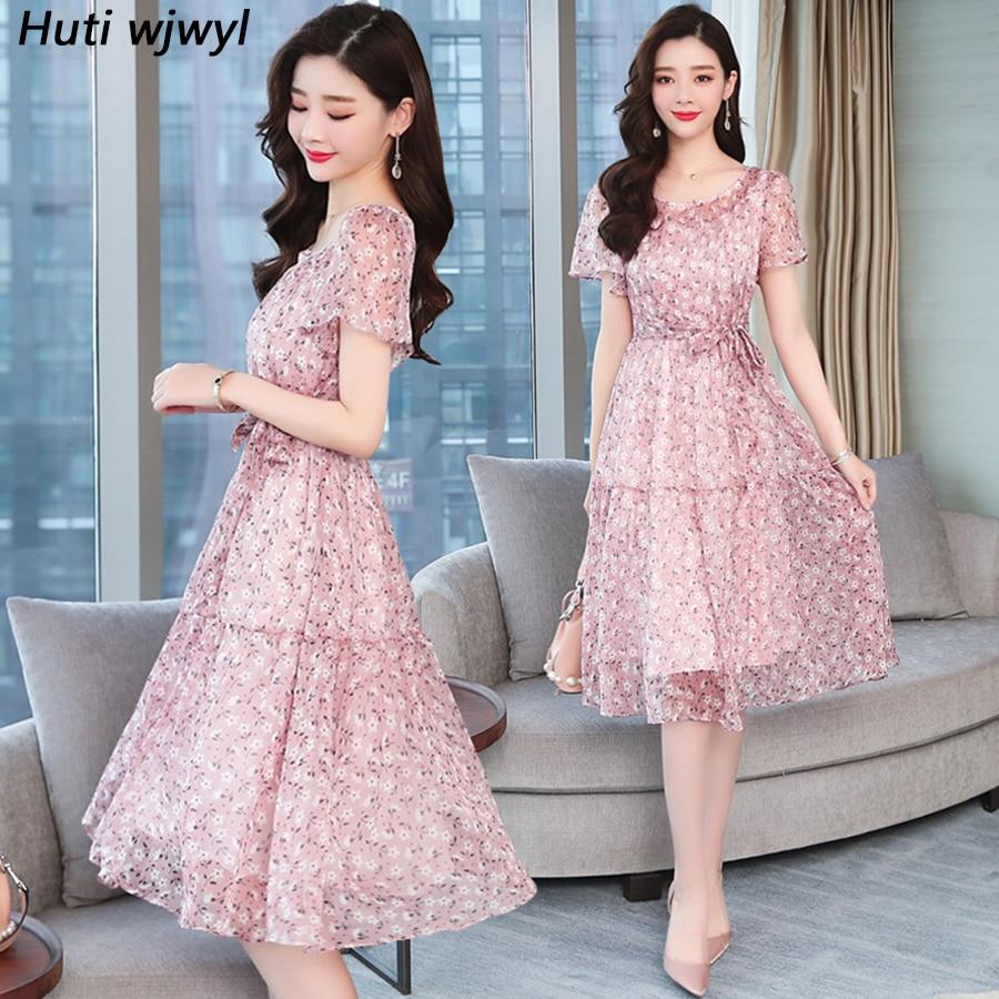 Summer New Vintage Plus Size Floral Chiffon Sundress 2020 Korean Boho Beach Sexy Midi Dress Elegant Women Short Sleeve Vestidos