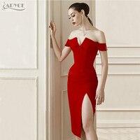 Adyce 2017 New Summer Dresses Women Red V Neck Side Split Off The Shoulder Celebrity Bandage