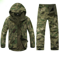 Hunting Clothes TAD Gear Soft Shell Camouflage Tactical Jacket Set Army Waterproof Coat Military Jacket Pants