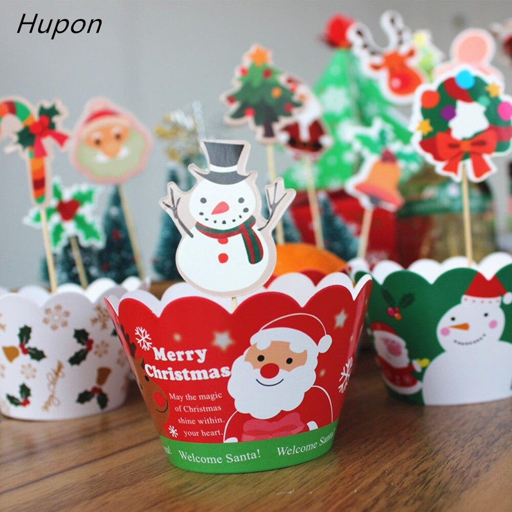 24 ピースケーキトッパー   カップケーキラッパージンジャーブレッドマンサンタ鐘クリスマス装飾用好意ケーキ装飾    グループ上の ホーム