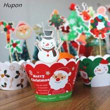 Adornos para tartas + envoltorios para cupcakes hombre de jengibre campanas de Santa adornos navideños para el hogar niños recuerdos para fiesta regalo decoración para tartas 24 Uds.