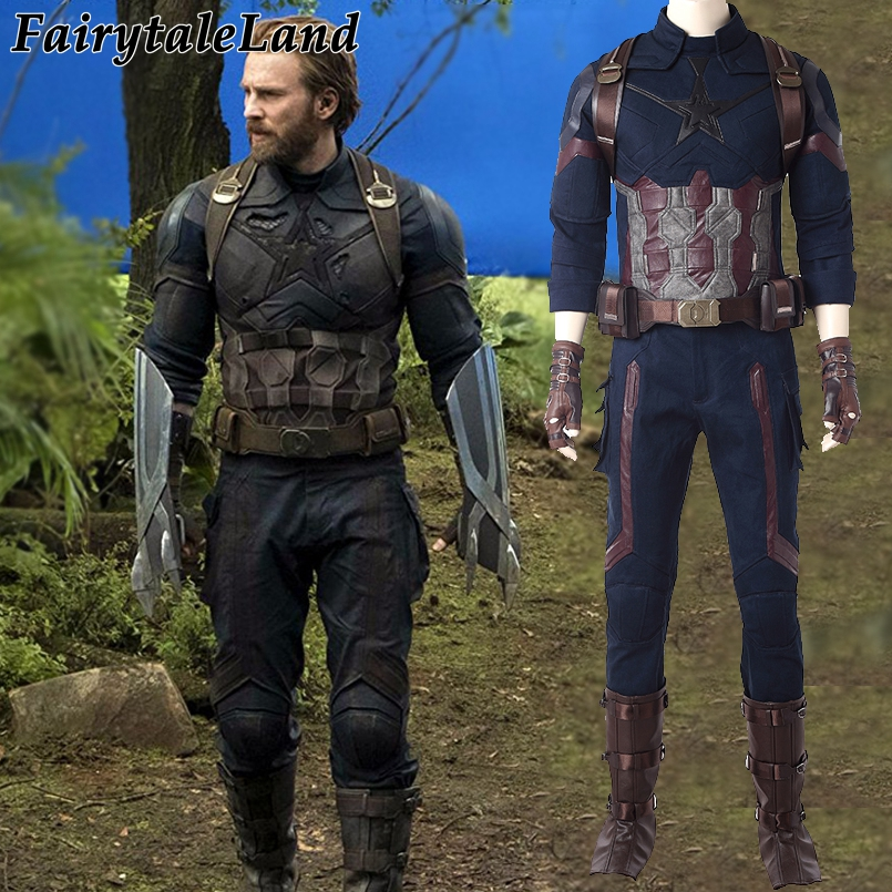Captain America Cosplay Costume Avengers Infinity War Steve Rogers Outfit Men