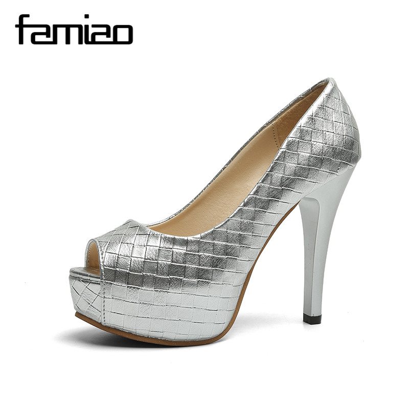 FAMIAO 2018 women fashion Heel Concise Shallow Mouth shoes Peep Toe Thin Heels shoes pumps Wedding Party Super High shoes fashion female shallow mouth high heels pointed toe single shoes sexy hollow stilettos women concise party thin pumps 6 colors
